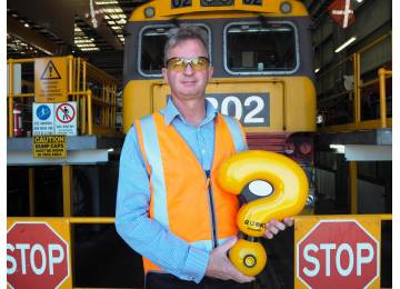 TasRail launches Quentin the Question Mark on a National Rail R U OK? Conversation Convoy