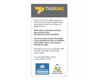 TasRail Public Notice - Elizabeth River Rail Bridge Works at Campbell Town